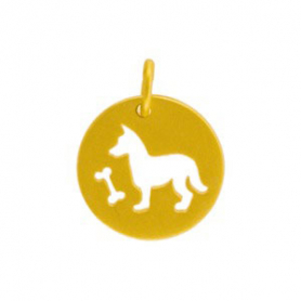 GA812   -SV-GP1-CHRM Charm-Round Disc w Dog Cutout in Gold Plate DISCONTINUED