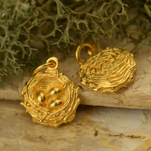 GA830   -SV-GP1-CHRM Gold Charms - Bird Nest with 24K Gold Plate DISCONTINUED