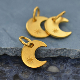 GA836   -SV-GP1-CHRM Gold Charms- Tiny Crescent Moon with 24K Gold Plate