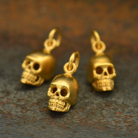 GA969   -SV-GP1-CHRM Gold Charms - Small Skull with 24K Gold Plate
