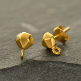 GAT1386 -SV-GP1-EARR Gold Stud Earring Part - Nugget with Loop in 24K Gold Plate