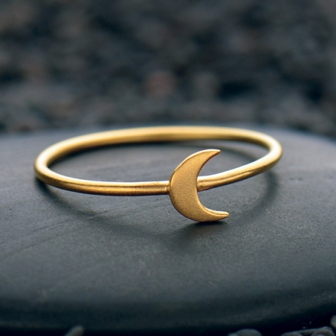 Tiny Moon Ring with 24K Gold Plate
