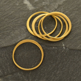 GS2405  -SV-GP1-LINK 24K Gold Plate Half Hammered Circle Link -15mm