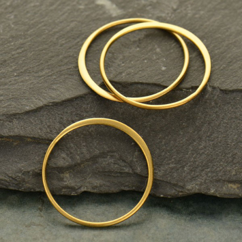 GS2545  -SV-GP1-LINK 24K Gold Plated Half Hammered Circle Jewelry Link -25mm