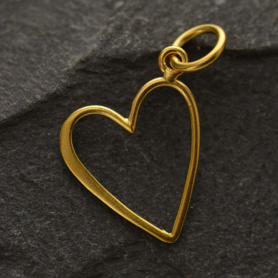 GS2757  -SV-GP1-CHRM Gold Charm - Medium Open Heart with 24K Gold Plate