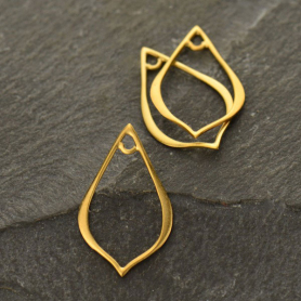 GS2880  -SV-GP1-LINK Jewelry Parts - Sm Pointed Teardrop Link in 24K Gold Plate