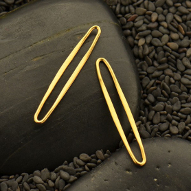 GS3096  -SV-GP1-LINK Jewelry Supplies - Medium Skinny Oval Link in 24K Gold Plate