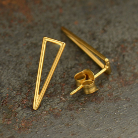 GT3018  -SV-GP1-EARR Gold Stud Earring - Long Skinny Triangle with 24K Gold Plate