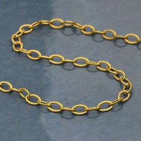 GUCH107 -SV-GP1-CHAN Gold Chain - Scored Wire Cable with 24K Gold Plate