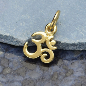 GXA1325 -SV-GP2-CHRM Gold Charm - Tiny Om with 14K Shiny Gold Plate