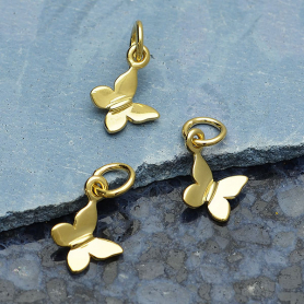 GXA1339 -SV-GP2-CHRM Gold Charm - Tiny Butterfly with 14K Shiny Gold Plate