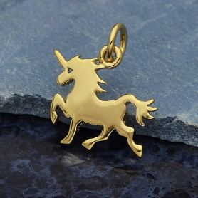 GXA1432 -SV-GP2-CHRM Gold Charm - Unicorn with 14K Shiny Gold Plate