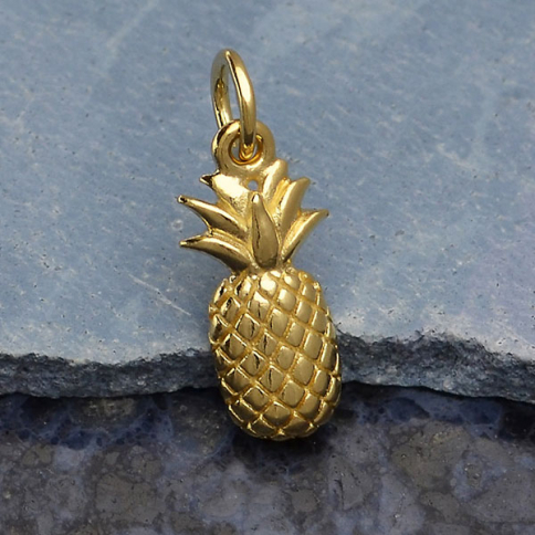 GXA1479 -SV-GP2-CHRM Gold Charm - Textured Pineapple with 14K Shiny Gold Plate