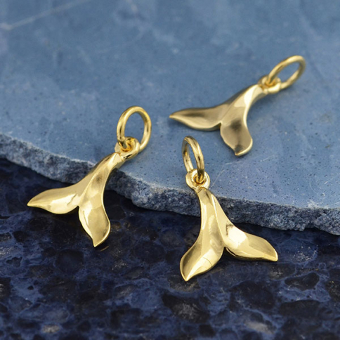 GXA4042 -SV-GP2-CHRM Gold Charm - Small Whale Tail with 14K Shiny Gold Plate