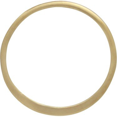 14K Gold Plate Half Hammered Circle Jewelry Link -15mm