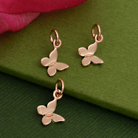 GZA1339 -SV-GP3-CHRM Rose Gold Charm - Tiny Butterfly with 18K Rose Gold Plate