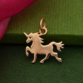 GZA1432 -SV-GP3-CHRM Rose Gold Charm - Flat Unicorn with 18K Rose Gold Plate