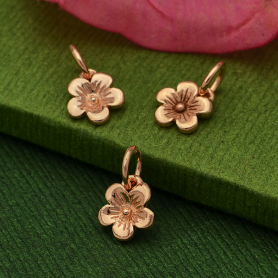 GZA937  -SV-GP3-CHRM Rose Gold Charm - Cherry Blossom with 18K Rose Gold Plate