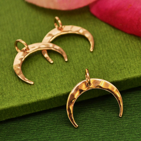 GZS3062 -SV-GP3-CHRM 18K Rose Gold Plated Hammered Crescent Moon Charm 16x16mm