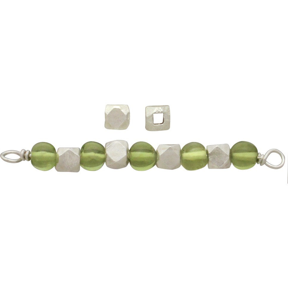 Sterling Silver Spacer Beads - Large Faceted Bead