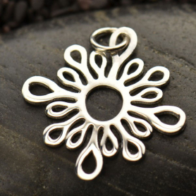 P2854   -SV-CHRM Sterling Silver Abstract Sun Pendant