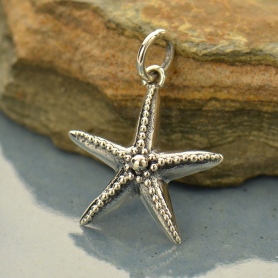 P3036   -SV-CHRM Sterling Silver Starfish Charm with Granulation