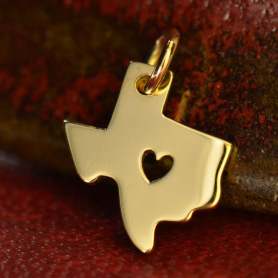 QA1304  -GD-CHRM 14K Gold Charm - Texas with Heart in Solid Gold