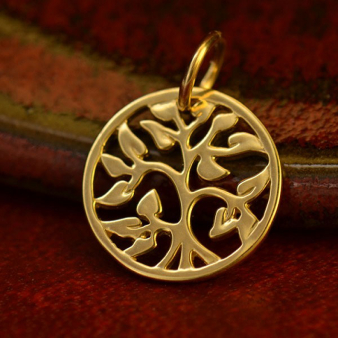 QA972   -GD-CHRM 14K Gold Charms - Small Tree of Life in Solid Gold