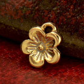 QQA937  -GD-CHRM Solid 14K Gold - Cherry Blossom Charm no Jumpring
