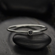 Sterling Silver Ring - Birthstone Ring - Black