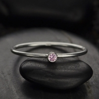 Sterling Silver Ring - Birthstone Ring - October