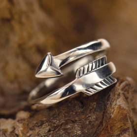 R31     -SV-RING Sterling Silver Adjustable Ring - Arrow Ring