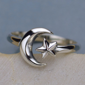 R33     -SV-RING Sterling Silver Adjustable Ring - Moon and Star