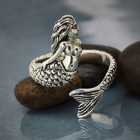 R525    -SV-RING Sterling Silver Mermaid Ring - Adjustable Ring