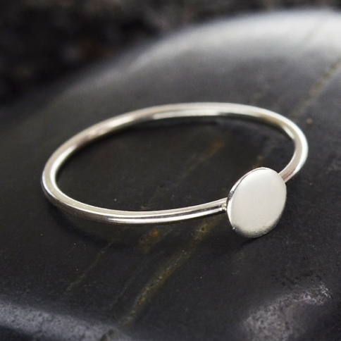 Sterling Silver Stacking Ring with Silver Dot