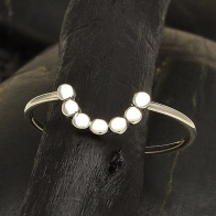 Sterling Silver Ring - Half Circle Ring with Dots