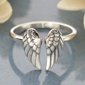 R60     -SV-RING Sterling Silver Adjustable Ring  - Angel Wing Ring