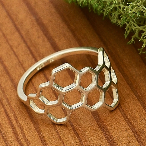 Sterling Silver Ring - Honeycomb Ring