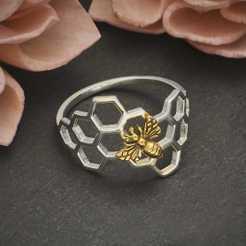 Sterling Silver Honeycomb Ring with Bronze Bee