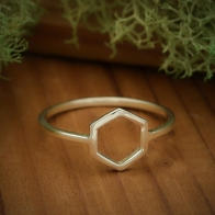 Sterling Silver Honeycomb Hexagon Ring