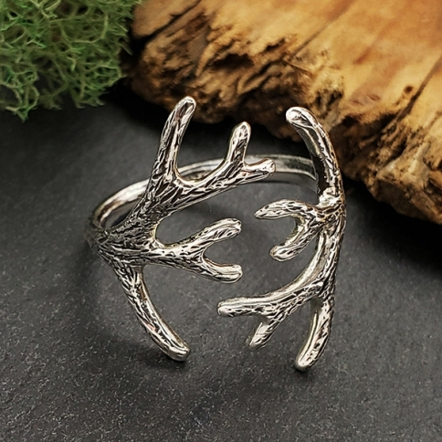 R72     -SV-RING Sterling Silver Adjustable Antler Ring