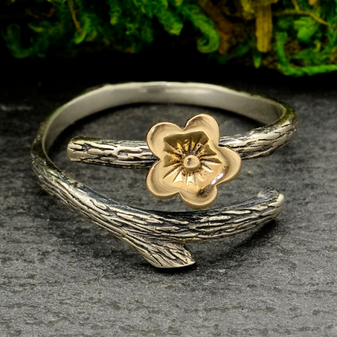 R74     -SV-RING Sterling Silver Branch Ring with Bronze Cherry Blossom