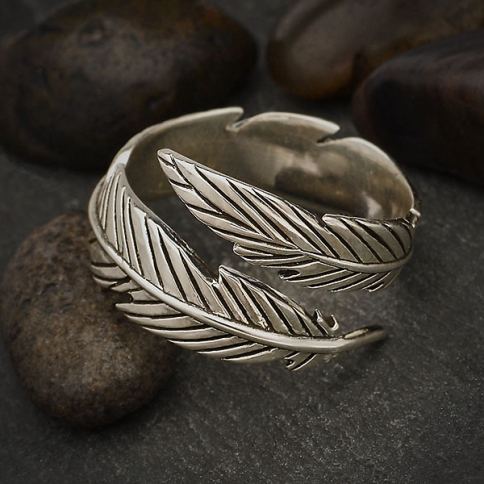 R76     -SV-RING Sterling Silver Adjustable Feather Ring