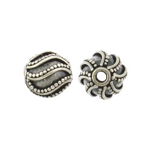 S1378   -SV-BEAD Sterling Silver Bead - Sm Round with Swirl Granulation