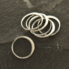 S2366   -SV-LINK Sterling Silver Half Hammered Circle Jewelry Link -12mm
