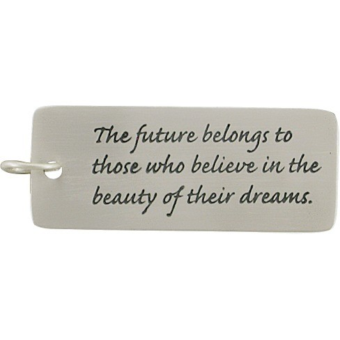 Sterling Silver Message Pendant - The Future Belongs to