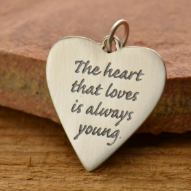 S2538   -SV-CHRM Sterling Silver Message Pendant - The Heart That Loves is