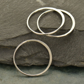 S2545   -SV-LINK Sterling Silver Half Hammered Circle Jewelry Link -25mm