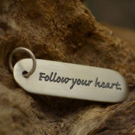 S2605   -SV-CHRM Sterling Silver Message Pendant - Follow Your Heart