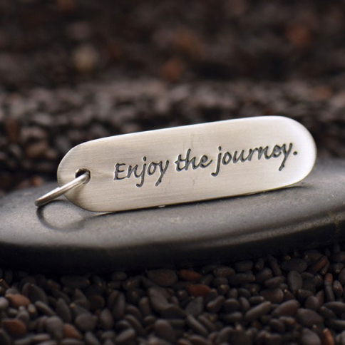 S2607   -SV-CHRM Sterling Silver Message Pendant - Enjoy the Journey